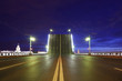 Night view of raised bridge in St.Petersburg, Russia.