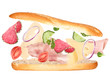 French baguette with ingredients in the air isolated