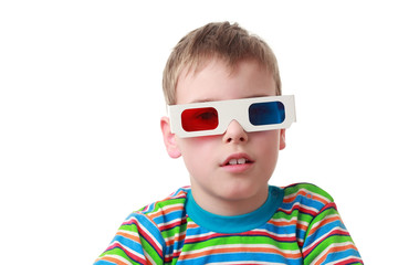 boy in striped shirt and anaglyph glasses