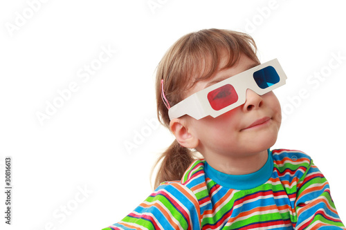 little beautiful girl in striped shirt and anaglyph glasses