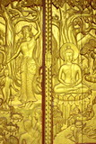Carved door on legend of Buddha poster