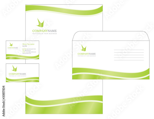 template design with logo, blank, visiting card and envelope