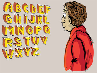 alphabet hand lettered with looking guy - illustration