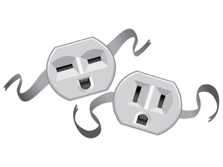 theatre masks lucky and sad from US electric socket