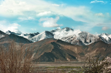 Tibetan Mountains near Lhasa in the spring
