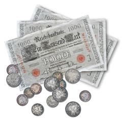 Geld - Deutsche Mark - 1000 - Banknoten und Münzen