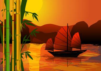 jonque et bambous