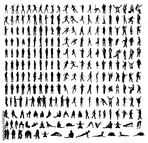 Many very detailed silhouettes including business, dancers, yoga