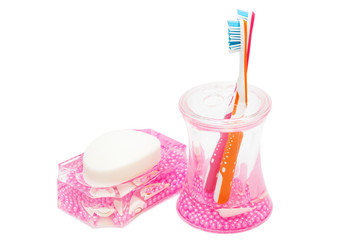 toothbrushes and soap