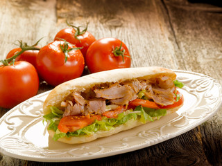 kebap sandwich on dish