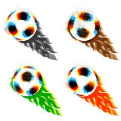 soccer balls with fireballs
