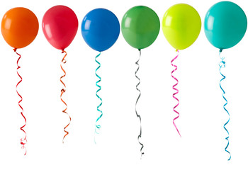 row of balloons on a white background