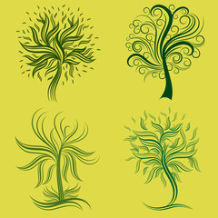 Vector set of spring tree design elements