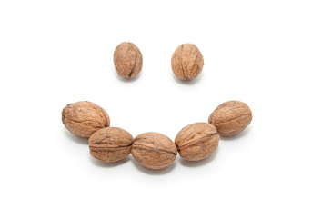Group of walnuts in the form of a smile