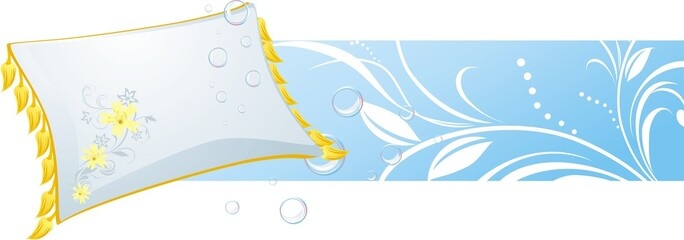 White pillow and bubbles. Decorative banner. Vector