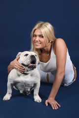The girl with an English bulldog