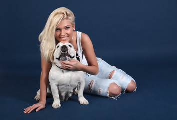 The girl with an English bulldog