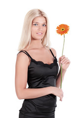 The girl with a flower Gerbera