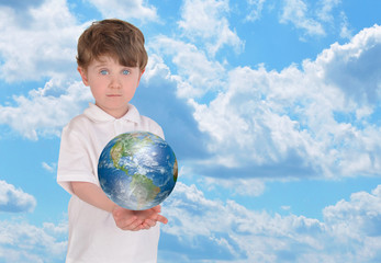 Young Boy Holding Earth and Sky