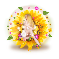 Beautiful Woman in Nature Flowers