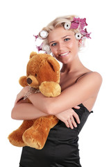 The girl with a teddy bear