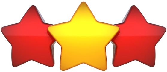 Star shapes three shiny (one golden two red) leadership symbol