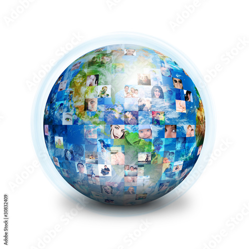 Social Friends Network Globe - 30832409