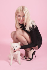 The blonde with the doggie