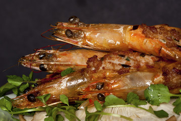 Grilled Prawns on Bed of Asian Water Cress
