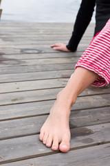 female foot in bridge