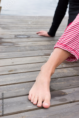 female foot in bridge