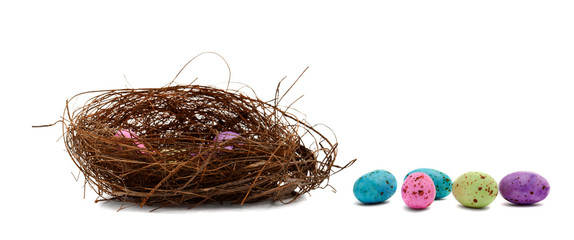 chocolate easter eggs and birds nest