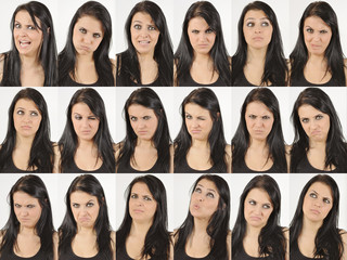 Series of an angry and wondering natural young woman