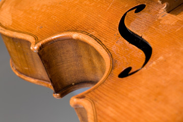 Close-up on old violin