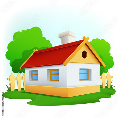 Cartoon rural house with among trees and fence