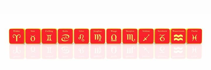 Sternzeichen in Reihe Rot Gold auf Weiß 01
