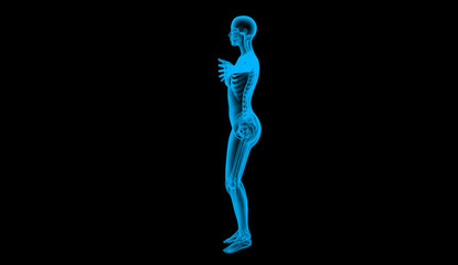 human body left by X-ray, 3d render