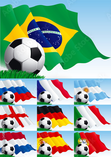 Set of soccer backgrounds.