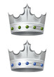 Two silver crowns with emerald and sapphire