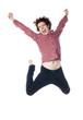 jeune homme énergique sautant en l'air