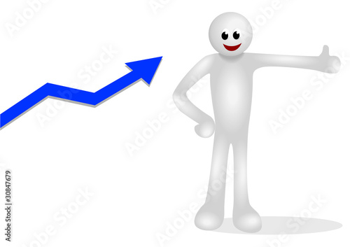 Iconic white figure with up arrow graphic