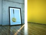 Atelier mit Zitronenbild vor Betonwand poster