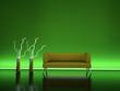 3d Rendering Sofa Neonschein grün
