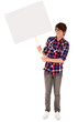 Teenager holding blank poster