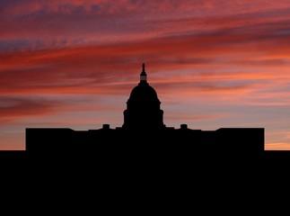 Capitol Building Washington DC at sunset illustration