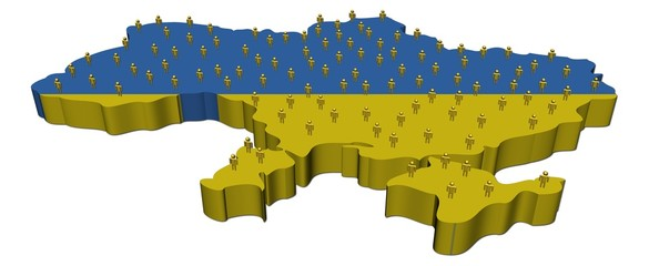 Ukraine map flag with many abstract people illustration