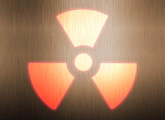radioactive symbol on metal background