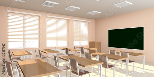 Classroom Interior in light tones