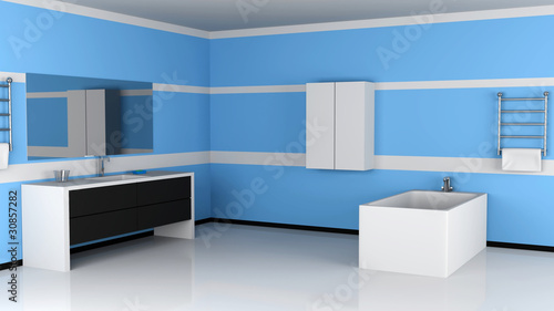 Modern Bathroom Interiro. 3d Image