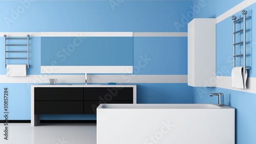 Modern Bathroom Interior. 3d Image